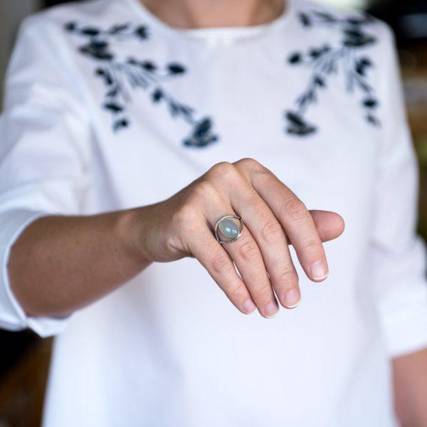 Inel argint calcedonia