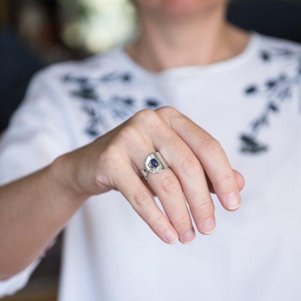 Inel argint lapis lazuli reglabil