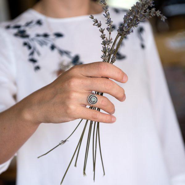Inel argint spirala calcedonia
