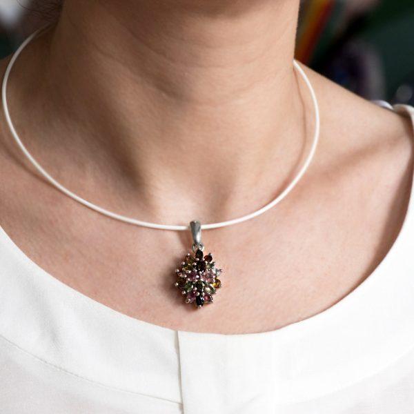 Pandantiv argint floare turmaline
