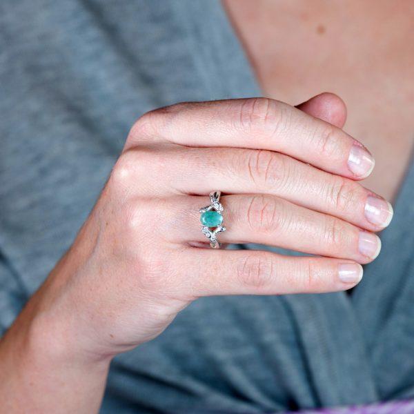 Inel argint radacina de smarald