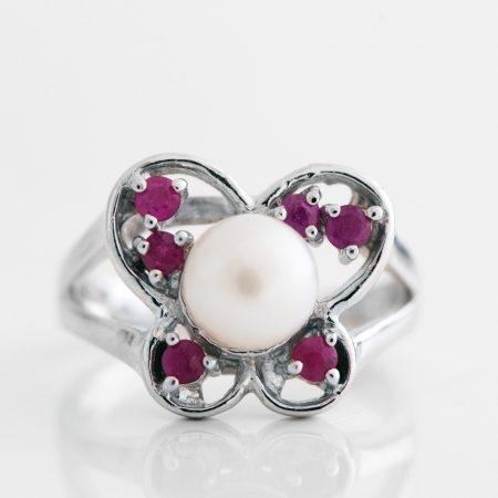 Inel argint funda perla radacina de rubin