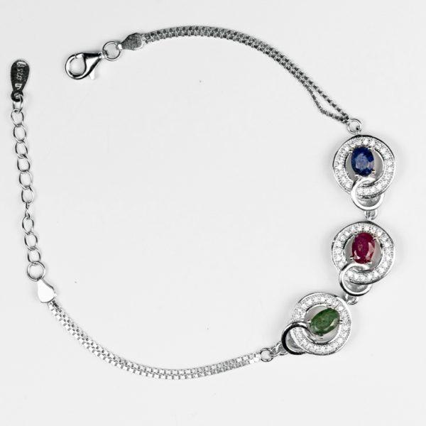 Bratara argint cu radacina de rubin si smarald