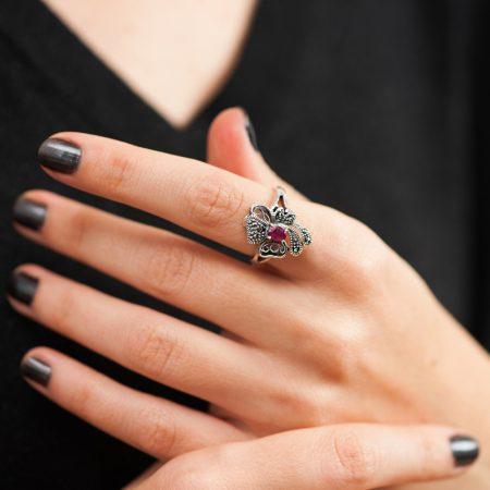 Inel argint radacina de rubin marcasite