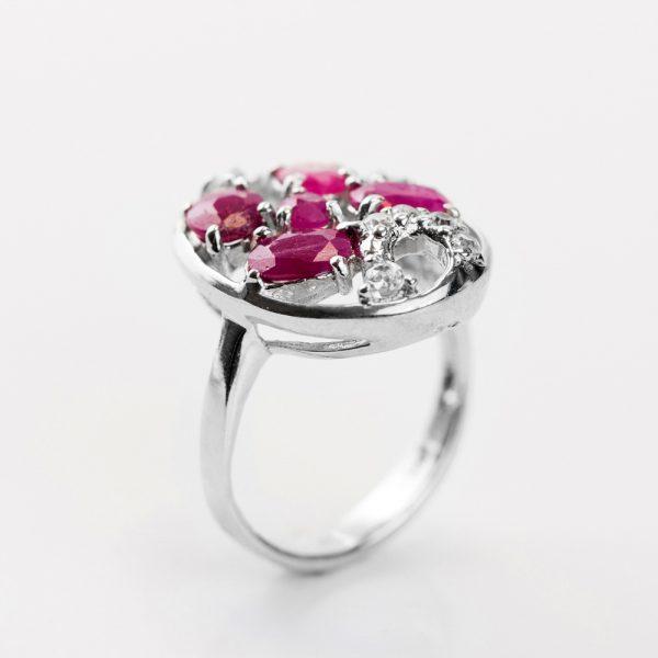 Inel argint radacina de rubin