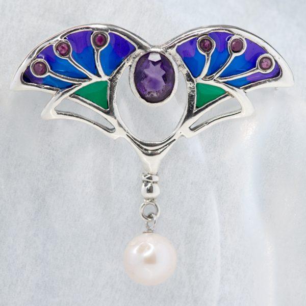 Brosa argint Art Nouveau