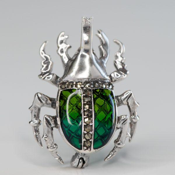 Brosa argint carabus mic verde