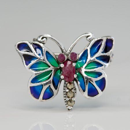 Brosa argint fluture mic albastru rubin