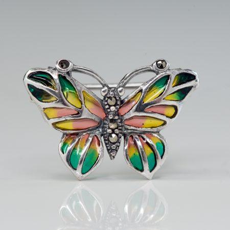 Brosa argint fluture mic galben-portocaliu