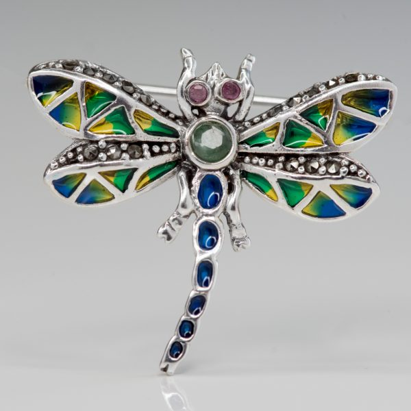 Brosa argint libelula mica smarald
