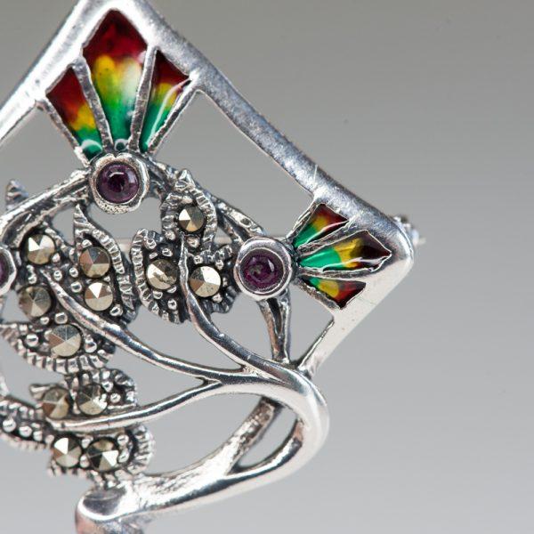 Brosa argint Art Nouveau romb