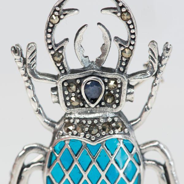 Brosa argint radasca x bleu