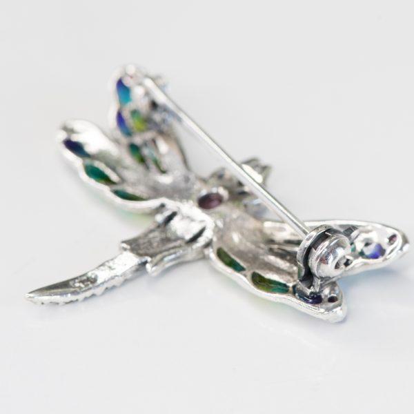 Brosa argint libelula mica marcasite