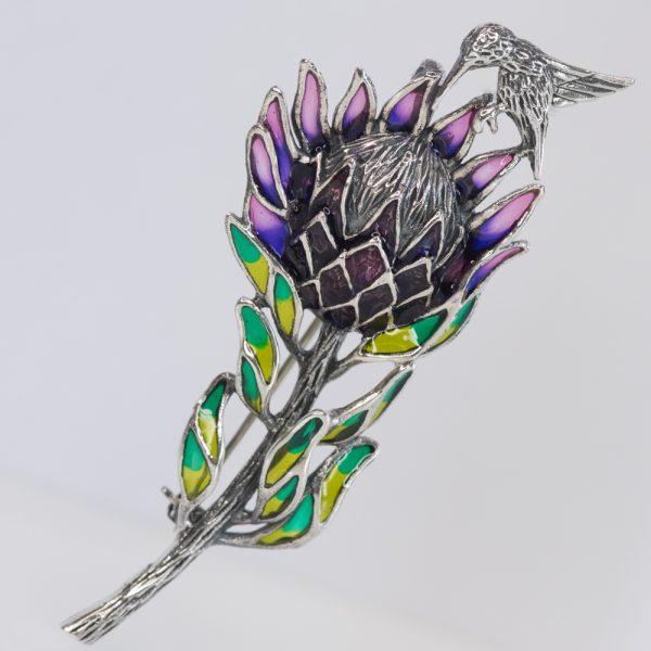 Brosa argint floare colibri