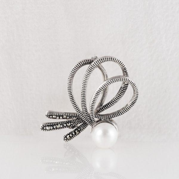 Brosa argint perla funda