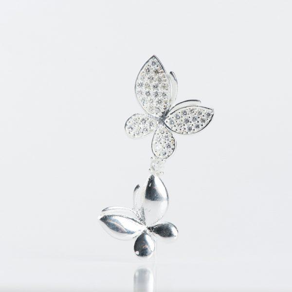 Brosa argint doi fluturi zirconii cubice