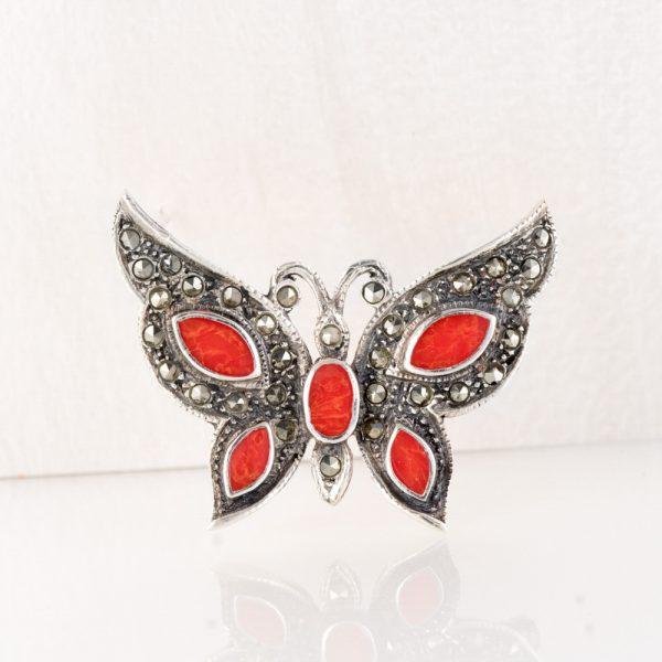 Brosa argint fluture rosu argint