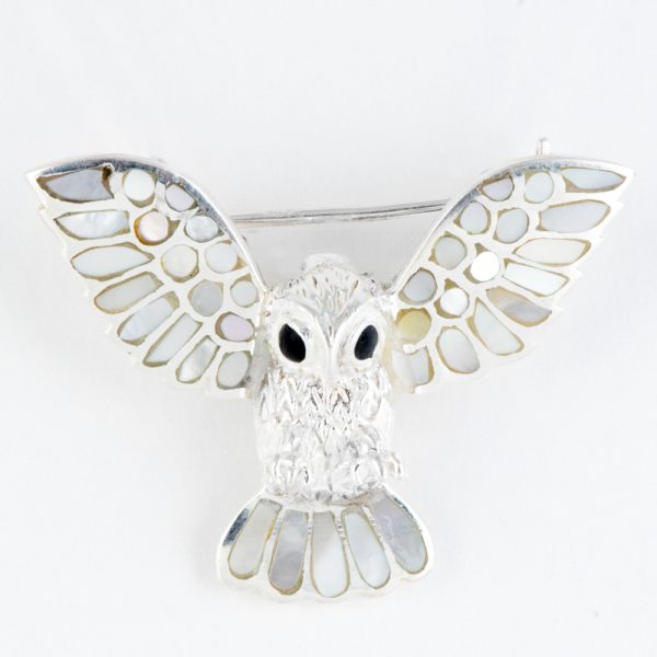 Brosa argint bufnita sidef alb