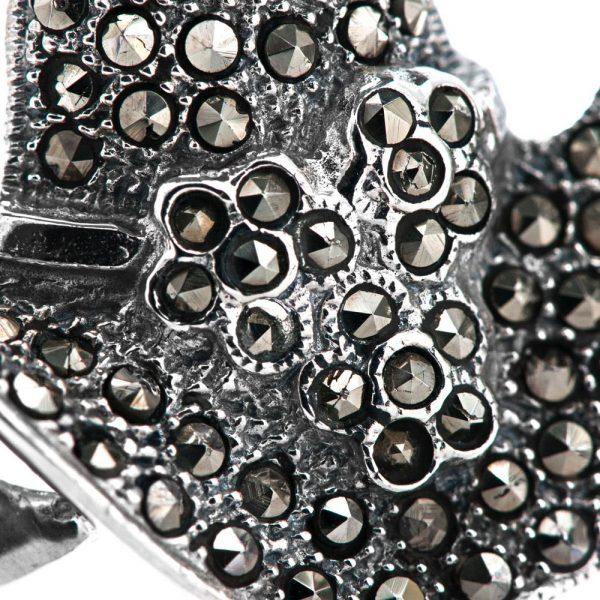 Brosa argint palarie marcasite