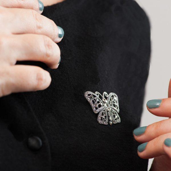 Brosa argint fluture marcasite
