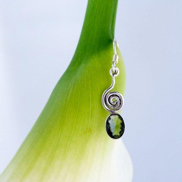 Cercei argint spirala peridot