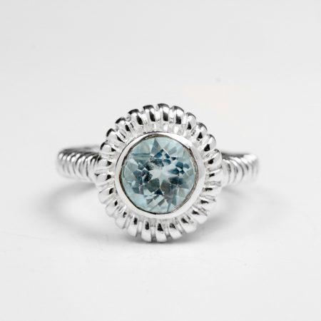 Inel argint cu topaz bleu