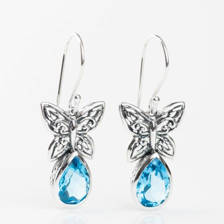 Cercei argint fluture topaz bleu