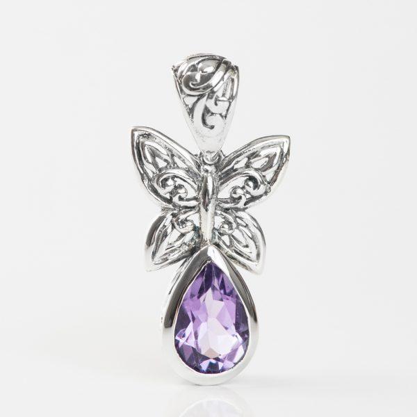 Pandantiv argint fluture ametist