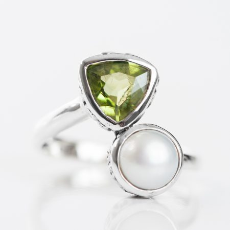 Inel argint peridot perla de cultura