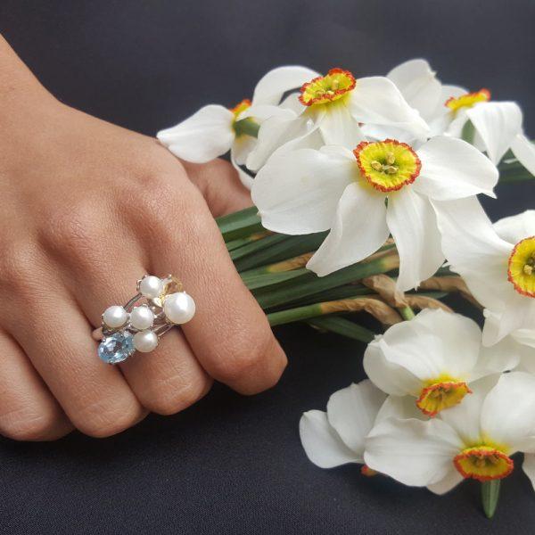 Inel argint perle de cultura