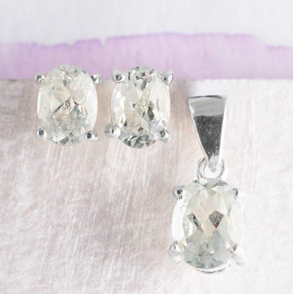 Set argint (Cercei si pandantiv) citrin oval