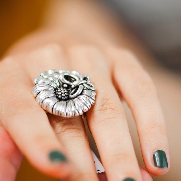 Inel argint floare cu fluture