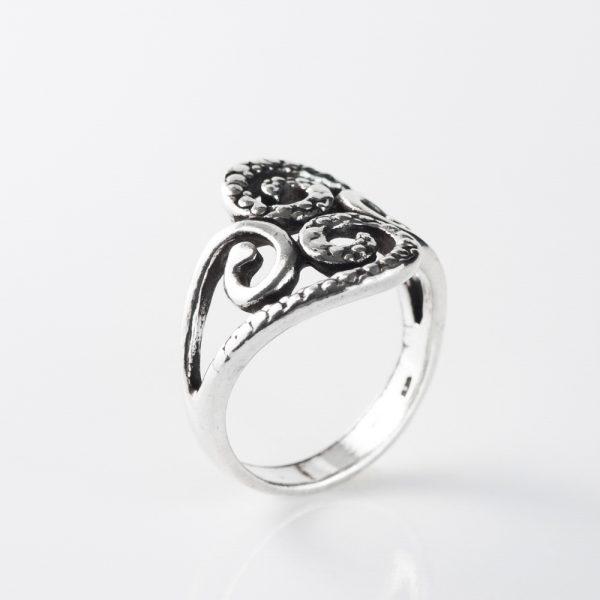 Inel argint patina patru spirale