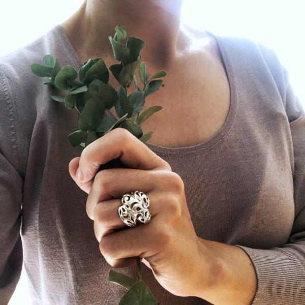Inel argint frunza dantelata