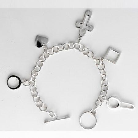Bratara argint cinci pandantive charm