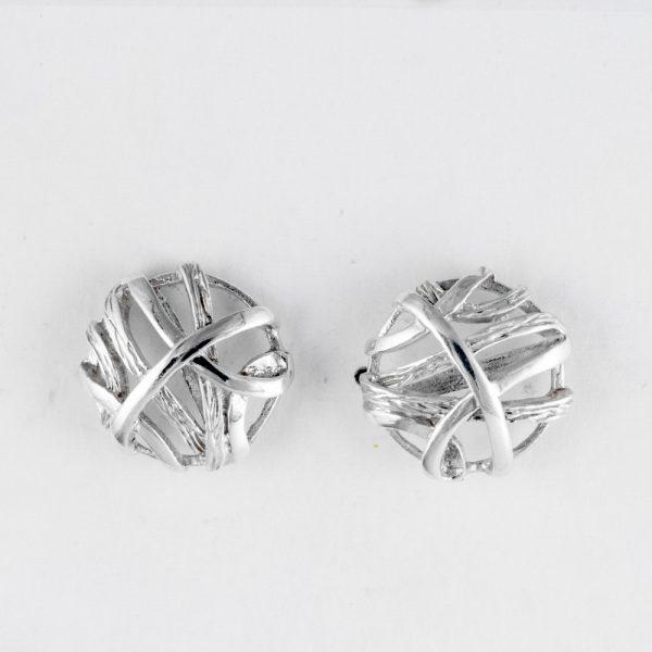 Cercei argint impletiti rotunzi