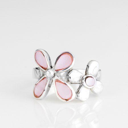 Inel argint flori sidef roz