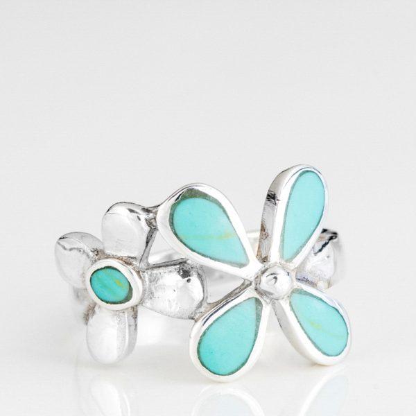 Inel argint flori email bleu