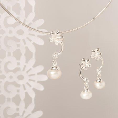 Set argint (Cercei si pandantiv) perla floare