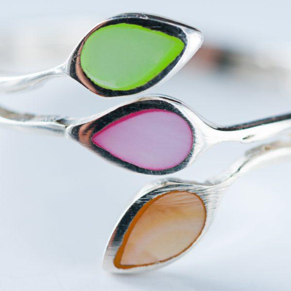 Inel argint trei frunze sidef multicolor