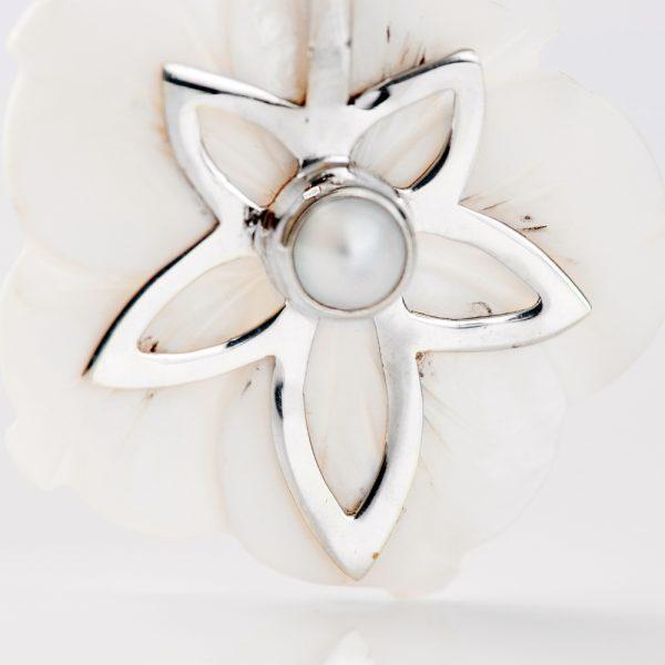 Pandantiv argint floare sidef perla