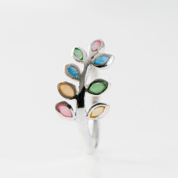 Inel argint crenguta sidef multicolor