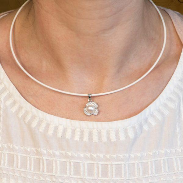 Pandantiv argint trifoi perla si zirconii cubice