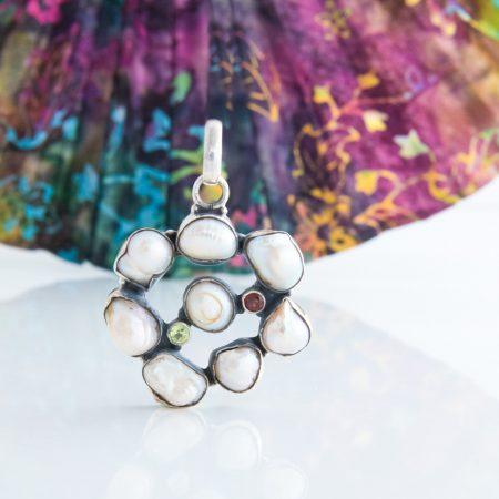 Pandantiv argint opt perle baroce