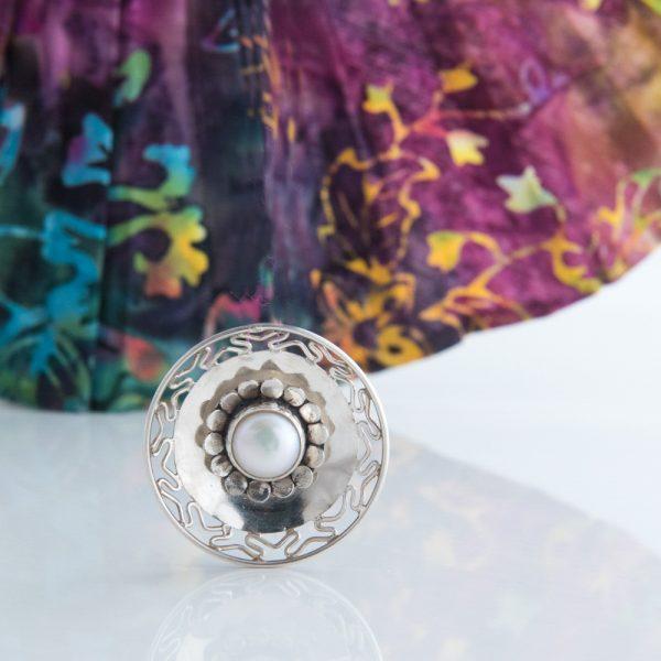 Pandantiv argint disc perla