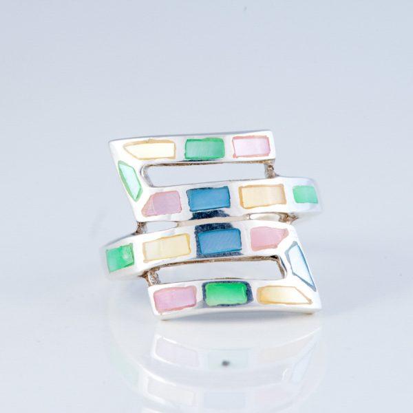 Inel argint sidef multicolor geometric