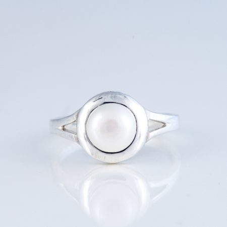 Inel argint perla rama rotunda