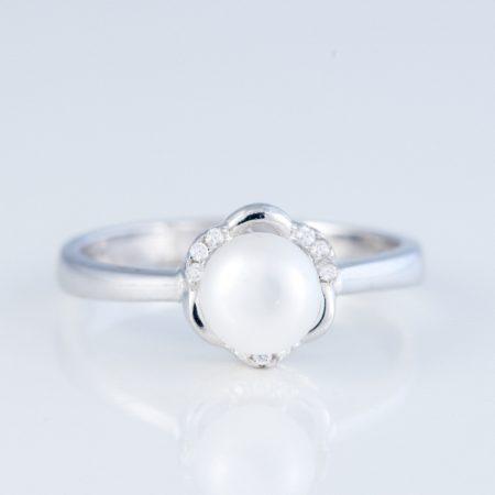 Inel argint perla floare