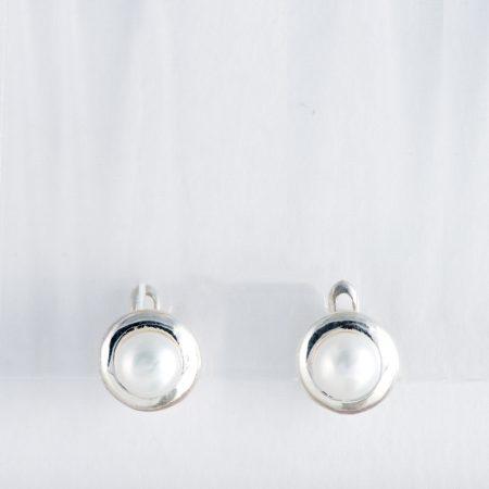 Cercei argint perla rama rotunda