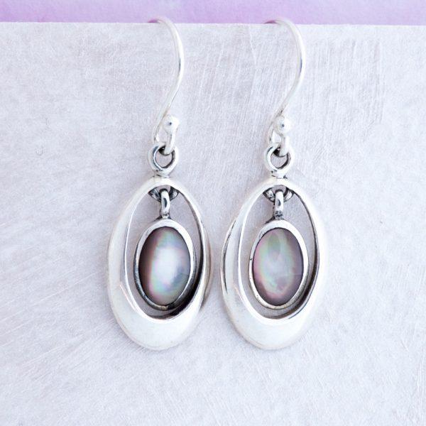 Cercei argint sidef gri oval